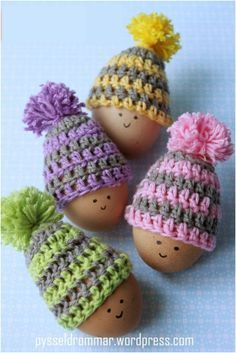 DIY Cute Easter Egg Hats Handmade Easter Eggs Hats With Face Eg Decoration Simple Crochet Easter Crochet Hats 4 Pcs Crochet Hats For Easter Gift Cute And Simple Easter Decoration With Handmade Crochet Easter Eggs Crochet Egg Cozy, Bunny Crochet, Easter Crochet Patterns, Cute Crochet, Crochet Crafts, Yarn Crafts, Crochet Toys, Crochet Projects, Knit Crochet