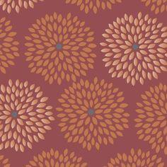 Marsala Flower Burst w/Metallic Copper By McFee, Jackie  - 15yds, 100% Cotton, 44/45in