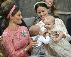 CP Victoria of Sweden holding Prince Oscar, Princess Sofia of Sweden holding…