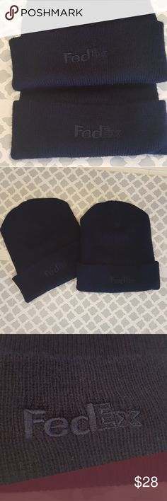 FedEx Dark Blue Beanie Hats Lot  of 2 fold over dark blue beanies with navy colored Fed Ex embroidered logo in great pre owned condition. FedEx Accessories Hats