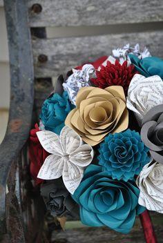 Custom Paper Flower Wedding Bouquets. You Pick by TreeTownPaper