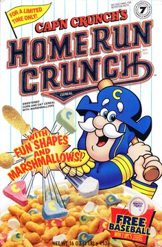 Cap'n Crunch's Home Run Crunch Cereal (Introduced by Quaker in 1995; Box from 1996)