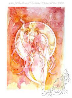 Aries Zodiac Art Goddess / Ram / Star Sign / Wall by SoulBirdArt