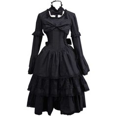Partiss Women's Black Cotton Blend Gothic Lolita Dress ($66) ❤ liked on Polyvore featuring dresses, goth dress, cotton blend dresses, gothic lolita dress, gothic clothing dresses and gothic dress