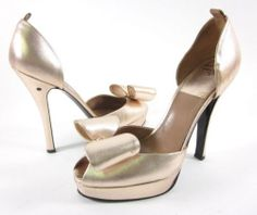 New Laurence Dacade Rose Gold Peep Toe Bow Detail D'Orsay Pumps Sz 39 5 9 5 $550 | eBay