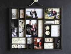 GREAT idea for a shadow box.  I could even see cutting thick card stock the size of the openings and having different ones decorated to interchange for different seasons or occasions.  designed by ali edwards.