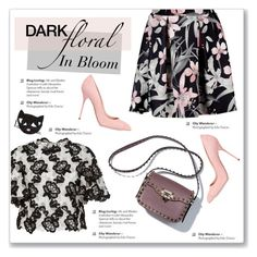 """In Bloom: Dark Florals"" by kellylynne68 ❤ liked on Polyvore featuring Monique Lhuillier, Sergio Rossi, Lulu Guinness, floral, florals, floralprint and darkflorals"