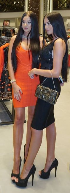 Tangerine And Black Body-con Dresses by Laura Badura Fashion