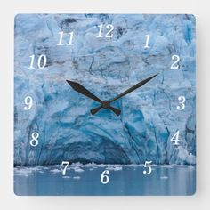 Prince William Sound Glacier Square Wall Clock Whittier Alaska, Photography Gifts, Hand Coloring, Prince William, Black And Grey, In This Moment, Fine Art, Wall Clocks, Prints