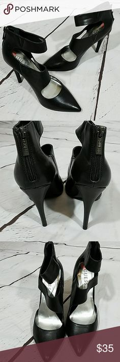 "Guess brand leather pumps Guess brand leather pumps with ankle strap and heel zip.  4"" heel. Guess Shoes Heels"
