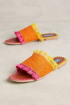 Slide View: 1: Proud Mary Raffia Fringe Slide Sandals
