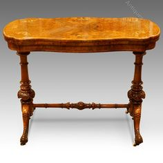 Victorian Shaped Inlaid Walnut Card-table - Antiques Atlas