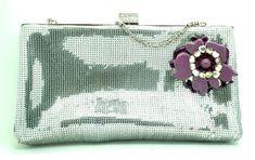 Unique evening bag  glitter silver color, clutch with a superb vintage lilac brooch  flower.