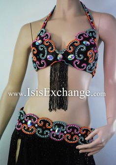 Black and Multicolored Bra and Belt Belly Dance Costume