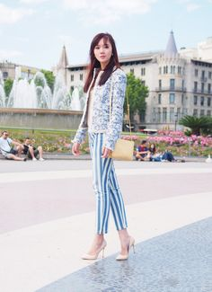 Colour me Blue Camille Co, Cos Fashion, Drama Queens, Retail Therapy, Striped Pants, Blazer, My Style, Color, Shopping