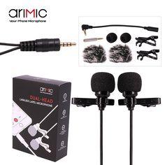AriMic Dual-Head Clip de Micrófono De Solapa Lavalier Omnidireccional de Condensador Micrófono De Grabación para el iphone Sumsang DSLR Cámara Teléfonos