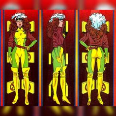 Rogue character turnaround for 'x-men: the animated series' Comic Movies, Comic Book Characters, Comic Books Art, Comic Art, Rogue Comics, Marvel Comics Art, Anime Comics, Gambit X Men, Rogue Gambit