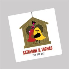Bird House Wedding Invitations. This cute invitation shows two love birds outside their house. Many colour choices available. www.kardella.com