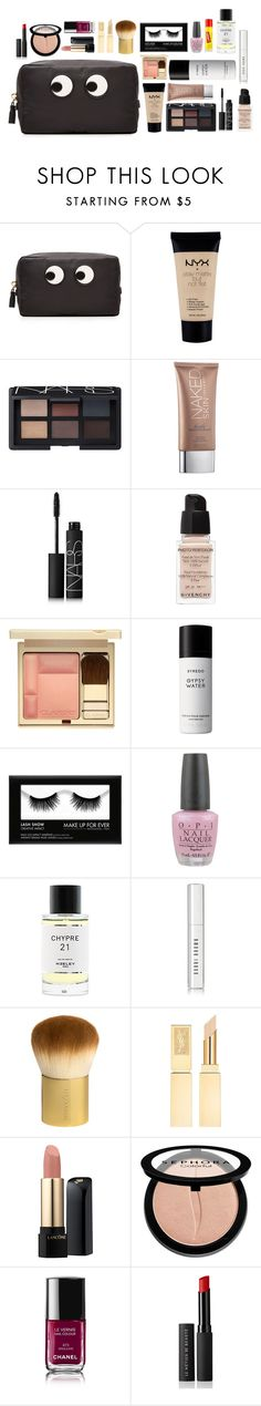 """""""What's in my makeup Bag #1"""" by xoxomuty on Polyvore featuring beauty, Anya Hindmarch, NYX, NARS Cosmetics, Urban Decay, Givenchy, Clarins, Byredo, OPI and Carmex"""