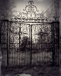 gates, wrought iron, and crosses Samhain, Dark Tales, Old Cemeteries, Graveyards, Collateral Beauty, Gothic Garden, Darkness Falls, Wrought Iron Gates, Entrance Gates