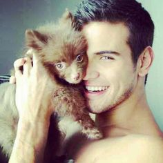 naked guy and puppy