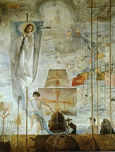 The Discovery of America by Christopher Columbus - by Salvador Dali x 284 cm; x in) A giant masterpiece displayed at the Dali Museum, St Petersburg, Florida I saw many time since Salvador Dali Museum, Salvador Dali Paintings, Photo D Art, Surreal Art, Oeuvre D'art, Les Oeuvres, Art History, Modern Art, Fine Art