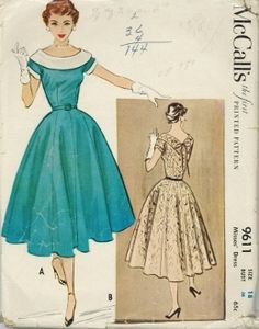 An unused original ca. 1953 McCall's Pattern 9611.  One-piece dress with bateau neckline completed with shawl colalr that ends in an inverted V with decorative bow at center back.  Short kimono sleeves that have small band cuffs.  Dart-fitted bodice joins 8-gore fully-flared skirt.