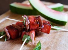 Griddled Watermelon and Prosciutto Spears by southbeachprimal $Appetizer #Watermelon #Prosciutto