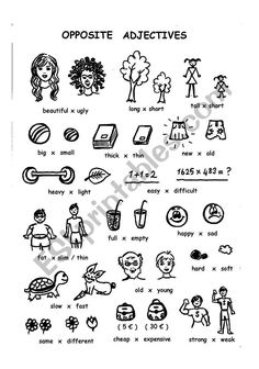 opposite adjectives - ESL worksheet by chance Opposites Worksheet, Adjective Worksheet, Printable Preschool Worksheets, Worksheets For Kids, Teaching English, Learn English, Kids Routine Chart, French Adjectives, Everyday English
