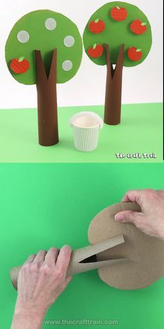 """Apple craft for kids! Make an adorable cardboard apple tree with velcro apples kids can pick and place in a paper cup """"bucket"""". Great for counting practice fine motor skills and also to inspire imaginary play in small worlds Easy Crafts For Kids, Summer Crafts, Toddler Crafts, Preschool Crafts, Fall Crafts, Diy For Kids, Diy Crafts, Toddler Toys, Craft Kids"""