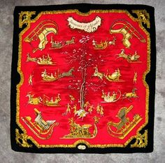 "Stunning Hermes Scarf, Paris – Red, Black and Gold ""Traineaux et Glissades"" - For sale on Ruby Lane #rubylane"
