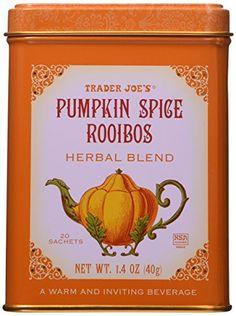 Trader Joe's Pumpkin Spice Rooibos Herbal Blend Beverage 20 sachets 20 Sachets KSA Kosher Certified A warm and inviting beverage Red Bush Herbal Blend Pumpkin flavor, Cinnamon, nutmeg and cloves Best Tea For Colds, Pumpkin Spice Tea, Autumn Tea, Herbal Cure, Tea Tins, Trader Joes, Drinking Tea, Gourmet Recipes, Trader Joe's