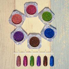 6 Pcs Holographic Glitter Laser Powder Nail Art Glitter Gorgeous Nail Glitter Powder Dust Chrome Pigments 6 Different Colors