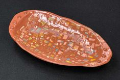 Enjoy this handmade ceramic serving platter patterned with individual and colorful mosaic tiles. Food Serving Trays, Small Tiles, Table Top Display, Terra Cotta, Clay Art, Mosaic Tiles, Surface Design, Dried Flowers, Safe Food