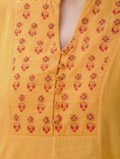 Mustard Hand-Embroidered Kalidar Cotton Mul Kurta with Slip (Set of Embroidery On Kurtis, Kurti Embroidery Design, Embroidery Neck Designs, Churidar Neck Designs, Kurta Neck Design, Kurta Designs Women, Dress Neck Designs, Sleeve Designs, Blouse Designs