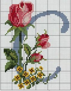 Steel Blue with Roses Alphabet Cross Stitch Pattern Cross stitch L Cross Stitch Alphabet Patterns, Embroidery Alphabet, Cross Stitch Letters, Cross Stitch Flowers, Diy Embroidery, Cross Stitch Charts, Cross Stitch Designs, Cross Stitch Embroidery, Embroidery Patterns