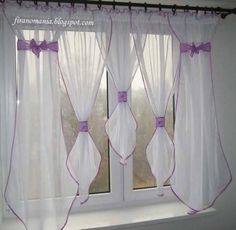 No Sew Curtains, Hanging Curtains, Window Curtains, Cortinas Shabby Chic, Shabby Chic Curtains, Window Coverings, Window Treatments, Window Scarf, Interior Windows