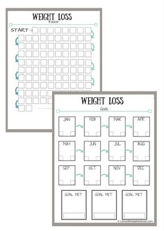Weight loss tracker, printable weight loss tracker, weight