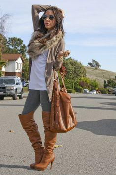 Fur scarf, leggings, those boots! :)