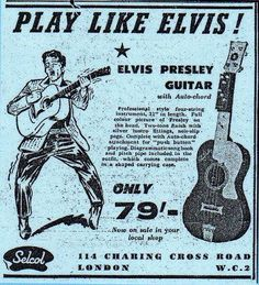 Vintage Guitar Ads - Play like Elvis Presley on guitar for only 79 something - in London.
