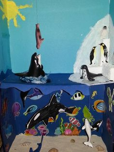 Closer look at orca diorama Ocean Projects, Book Projects, School Projects, Whale Facts For Kids, First Grade Projects, Ocean Diorama, Orca Art, Ecosystems Projects, Whale Crafts