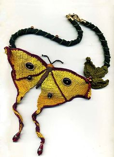 Yellow Butterfly Crochet Necklace