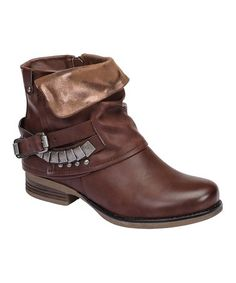 Loving this Brown Studded Buckle Elly Ankle Boot on #zulily! #zulilyfinds