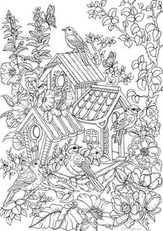 Printable Coloring Pictures for Adults Awesome Birdhouse Printable Adult Coloring Page From Favoreads Bird Coloring Pages, Printable Coloring Sheets, Printable Adult Coloring Pages, Coloring Books, Kids Coloring, Colouring In, Coloring Pages For Adults, Flower Coloring Sheets, Coloring Letters