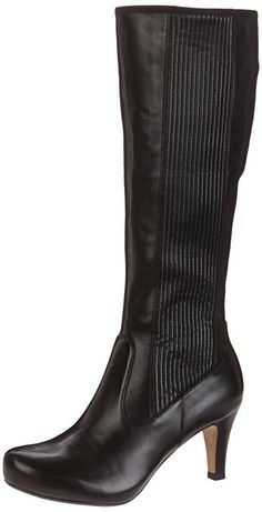 cabff796e32 CLARKS Ladies Kansas Chorus Pull On Leather Knee High boots Black - UK size  8 E