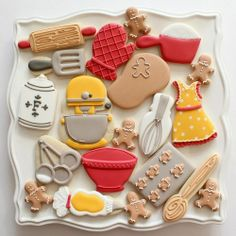 Creative Baking Theme Cookies with common cookie cutters // Sweet Sugar Belle Fancy Cookies, Iced Cookies, Cute Cookies, No Bake Cookies, Cookies Et Biscuits, Cupcake Cookies, Sugar Cookies, Baking Cookies, Cookie Favors