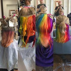 "Polubienia: 42, komentarze: 3 – zara alesworth (@crazyhairzara) na Instagramie: ""Done the amazing @roscretchley  hair #rainbow #rainbowhair #coloursoftherainbow #colourpop #colours…"""