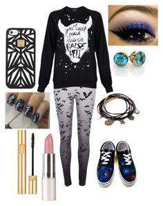 """""""If You Cant Reach Heaven, Raise Hell."""" by destinee-hogeland ❤ liked on Polyvore featuring River Island, Black Score, Vans, Yves Saint Laurent, Forever 21, Hervé Léger, galaxy, tights, pleaselike and PleaseFollowMe"""