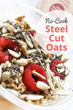Get out of your breakfast rut with No-Cook Steel Cut Oats. Easy to make, raw, vegan, and delicious! Full of protein-rich steel cut oats, antioxidant-packed berries, and omega-3 fatty acids from chia seeds, this recipe makes a delicious, healthy breakfast or snack that even your kids will love! Healthy Breakfast Recipes | Healthy Breakfast for Kids | No Cook Recipes | Gluten Free Breakfast | Vegan Recipes