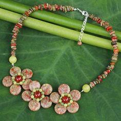 Hand Made Thai Gemstone Flower Necklace - Blossom Trio | NOVICA
